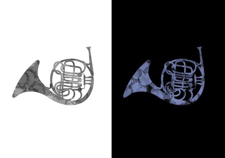 French Horn Music Instrument Black and Blue Background Illustration
