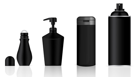 Mock up Realistic Black Cosmetic Gel Soap, Skincare Lotion, Shampoo, Deodorant and Spray Bottles Product Set on White Background Illustration