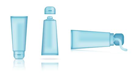 Mock up Realistic Blue Pastel Tube Set on White Isolated Background  Illustration
