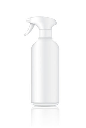 Mock up Realistic White Plastic Spray Packaging Product For Cosmetic Beauty or Toiletries Bottle isolated Background.