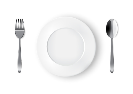 Mock up Realistic White Plate or Dish, Metal Spoon and Fork on Dining Table for food isolated Background. Иллюстрация