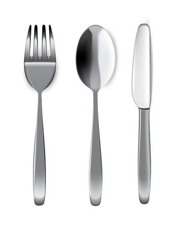 Mock up Realistic Metal Spoon, Fork And Knife on Dining Table for food isolated Background.