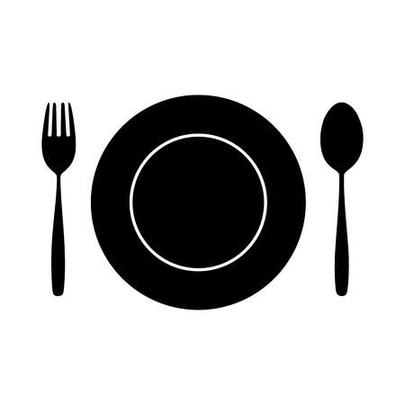 Icon Spoon, Fork And Plate on Dining Table for food silhouette isolated Background.