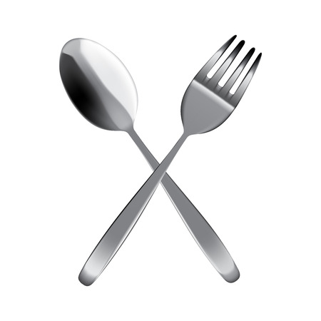 Mock up Realistic Metal Spoon and Fork on Dining Table for food isolated Background.