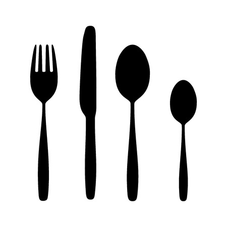 Icon Spoon, Fork And Knife on Dining Table for food silhouette isolated Background.  Иллюстрация