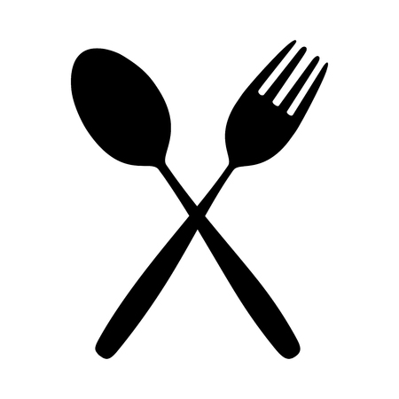 Icon Spoon and Fork on Dining Table for food silhouette isolated Background.
