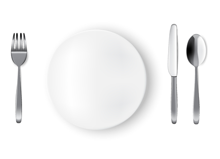 Mock up Realistic White Plate or Dish, Metal Spoon  Fork and Knife on Dining Table for food isolated Background. Иллюстрация