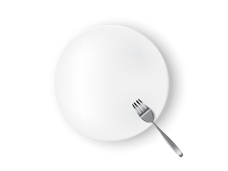 Mock up Realistic White Plate or Dish, Metal Fork on Dining Table for food isolated Background.