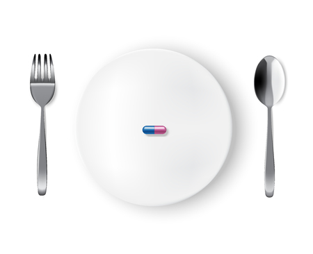 Mock up Realistic White Plate or Dish, Metal Spoon  and Fork on Dining Table with Medicine Drug or Pill Capsule Background Illustration