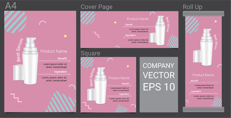 Product Description Advertising Template Happy Banner With Skincare Bottle on Pastel Color Pop Art Style Background Illustration 向量圖像
