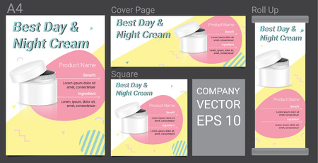 Product Description Advertising Template Happy Banner With Skincare Bowl on Pastel Color Pop Art Style Background Illustration 向量圖像