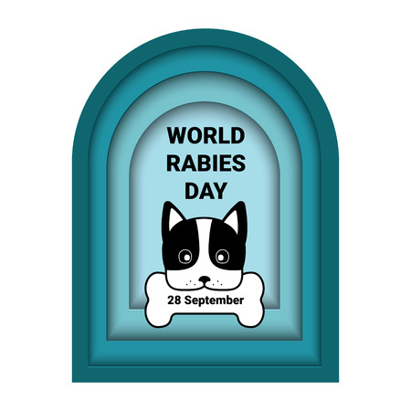 World Rabies Day Banner With Paper Cut Dog And Bone on frame Background, Cartoon Style Design for banner, Brochure, flyer, poster, Magazine, web site or greeting card. vector illustration Illustration