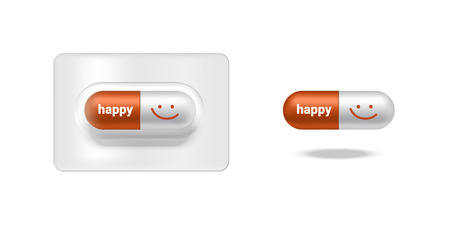 Realistic Capsule or Pill Medicine With Happy and Smile for Friend or Family isolated on white Background.