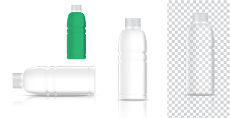 Mock up Realistic Plastic Transparent Packaging Product For Soft Drink or Water Juice Bottle isolated Background. Stock Illustratie