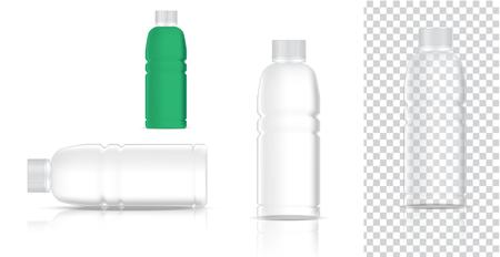 Simulacros de producto de embalaje transparente de plástico realista para refrescos o botellas de jugo de agua con fondo aislado.