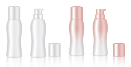 Mock up Realistic White and Rose Gold Color Cosmetic Soap, Shampoo, Cream, Serum, Essential Oil Or Body Lotion Bottles Set Background Illustration