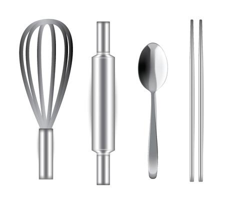 Fouet Ballon en acier inoxydable réaliste, rouleau à pâtisserie, cuillère et baguettes pour la boulangerie et la nourriture isolés sur fond blanc illustration vectorielle Vecteurs