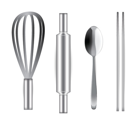 Realistic Stainless Steel Ballon whisk, Rolling Pin, Spoon and chopsticks for Bakery and food isolated on white background illustration vector
