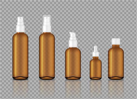 Simulacros de jabón cosmético, champú, crema, gotero de aceite y frascos de spray de vidrio transparente de color ámbar brillante realista para la ilustración de fondo de productos de cuidado de la piel