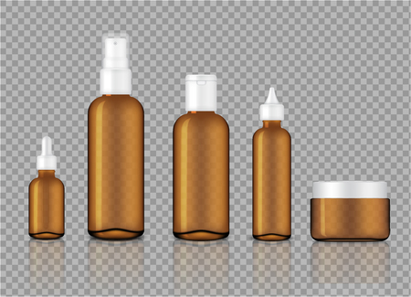 Mock up Realistic Glossy Amber Transparent Glass Cosmetic Soap, Shampoo, Cream, Oil Dropper and Spray Bottles Set for Skincare Product Background Illustration Ilustración de vector