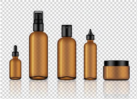 Simulacros de jabón cosmético, champú, crema, gotero de aceite y botellas de spray de vidrio transparente de color ámbar brillante realista con tapa negra para la ilustración de fondo de productos para el cuidado de la piel