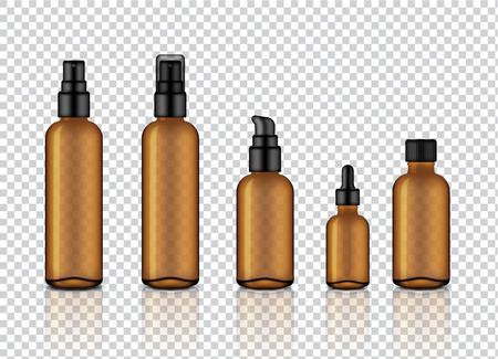Simulacros de jabón cosmético, champú, crema, gotero de aceite y botellas de spray de vidrio transparente de color ámbar brillante realista con tapa negra para la ilustración de fondo de productos para el cuidado de la piel Ilustración de vector