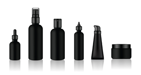 Mock up Realistic Glossy Black Cosmetic Soap, Shampoo, Cream, Oil Dropper and Spray Bottles Set for Skincare Product Background Illustration