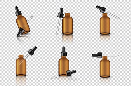 Simulacros de gotero ámbar transparente realista o botella de pipeta para aceite esencial o suero para el cuidado de la piel Ilustración de fondo