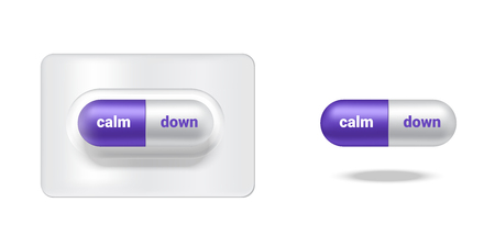 Realistic Capsule or Pill Medicine With Calm Down For Angry Person isolated Background. Ilustração