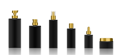 Mock up Realistic Black Cosmetic Soap, Shampoo, Cream, Oil Dropper and Spray Bottles Set for Skincare Product with Gold Cap on white Background Illustration