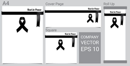 Mock up Mourning symbol with Black Respect ribbon on white background Banner. Rest in Peace Funeral card Vector Illustration. Vector Illustration