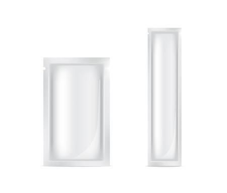 Mock up bustina di lamina realistica per prodotto alimentare o illustrazione di vettore di confezionamento del campione di cura della pelle