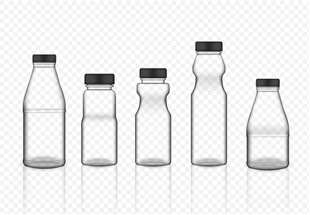 Mock up Realistic Transparent Plastic Packaging Product For Milk, Soft Drink or Water Juice Bottle isolated Background. Vecteurs