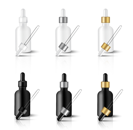 Mock up Realistic Black and white Dropper or Pipette Bottle With Metallic and Gold Cap for Essential Oil Or Skincare Serum Background Illustration Vettoriali