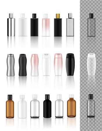 Simulacros 3D de botella cosmética transparente realista para ilustración de fondo saludable, de alimentos y de cuidado de la piel