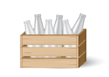 3D Mock up Realistic Wooden Crates or box with Milk Bottle product packaging isolated Background. Illustration
