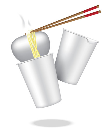 Realistic Design Hot Cup Noodle on White Background Illustration