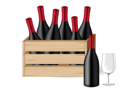 3D Mock up Realistic Wine Bottle, glass and Wooden Crates or box  for celebration on Christmas event background illustration vector