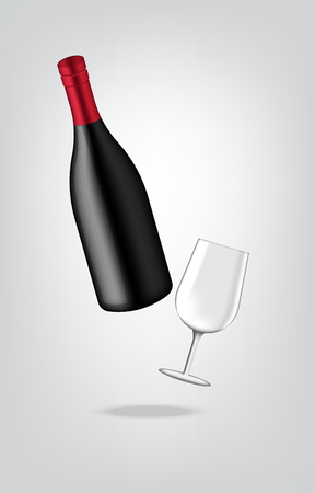 Mock up Realistic Premium Wine Or Champagne Bottle And Glass for Christmas Party Illustration Illustration