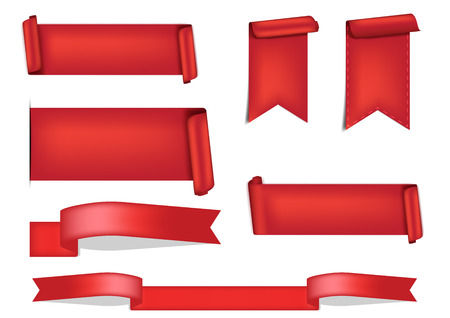 3D Red Ribbon Shadow for award on White Background vector Illustration
