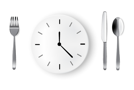 Mock up Realistic Time To Eat With Clock, White Plate or Dish, Metal Spoon  Fork and Knife on Dining Table for food isolated Abstract Background Vector.