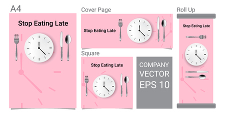 Mock up Realistic Advertising Banner Time To Eat With Clock, White Plate or Dish, Metal Spoon  Fork and Knife on Dining Table for food isolated Abstract Background Vector.