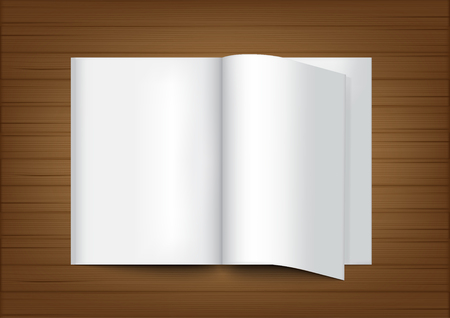 3D Mock up Realistic Book and Wood Background for Catalog Design Illustration Vector