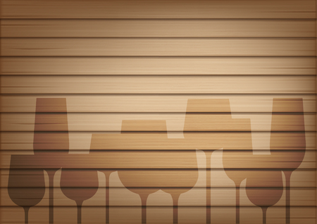 Mock up Realistic Wood and Wine Glass Shadow Abstract Background Illustration Vector