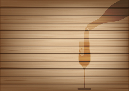 Mock up Realistic Wood and Wine Bottle Glass Shadow Abstract Background Illustration Vector Illustration
