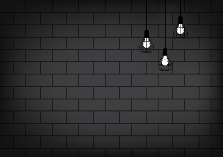 Realistic Lamp and Lighting on the brick wall Background Illustration