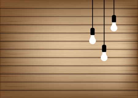 3D Mock up Realistic Wood and Lamp Light Background Illustration Vector