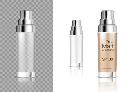 Mock up Realistic Transparent Bottle Cosmetic Soap, Shampoo, Cream, Oil Dropper for Skincare Foundation Product Packaging With Metallic Cap Background Illustration