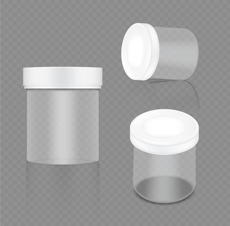 Mock up Realistic Transparent White Jar Packaging Product For Cosmetic Beauty and Health Care medicine isolated on Transparent Background.