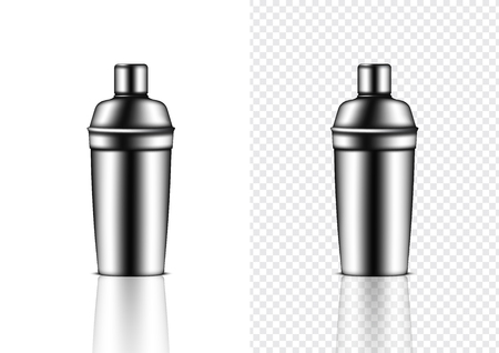 3D Mock up Realistic Metallic Shaker Bottle For Cocktail Alcohol Party event isolated on Transparent Background.